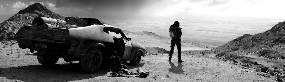 Screenshot of the black and chrome version of Mad Max: Fury Road.