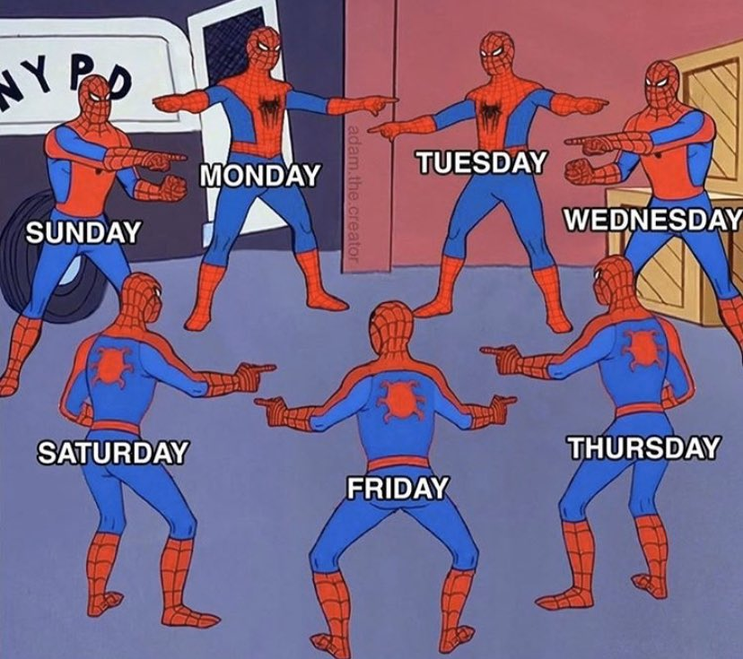 Spiderman struggling to identify what day it currently is